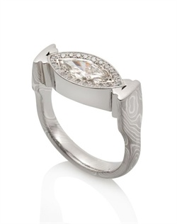 Palladium 950, 14k palladium white gold, silver, .92 TCW, .72 carat center stone