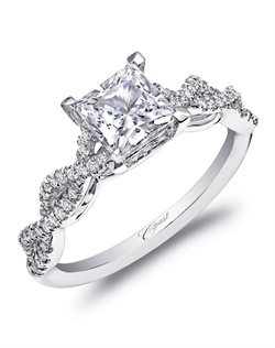 A strikingly beautiful design, this engagement ring features a double helix design on the band, leading the eye to a princess cut diamond. Standard size created for a 5.5mm center stone in white gold or platinum. Total diamoind weight .23CT, not including center stone.