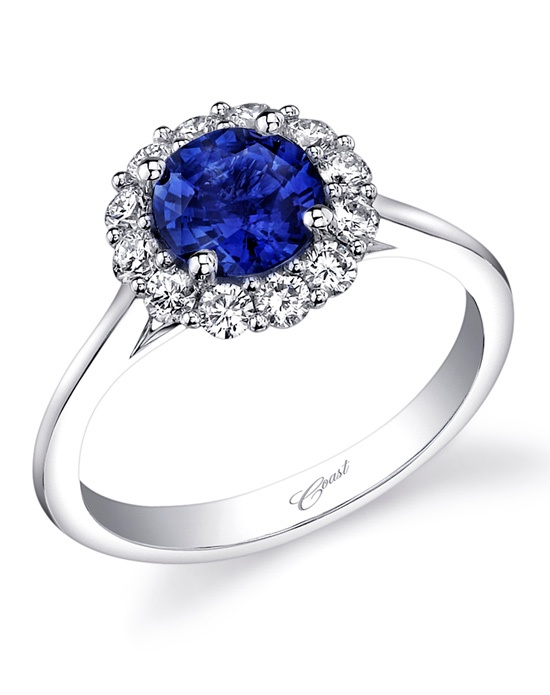 Coast Diamond Round Halo Sapphire Engagement Ring LC5205 S Wedding Ring The
