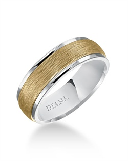 7.0mm white gold wedding band consisting of a textural center and bright flat rims.