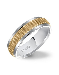 6.5mm yellow gold wedding band consisting of a textural center and bright flat rims.