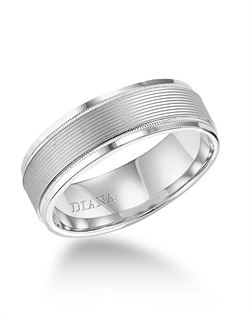 7.0mm wedding band with  soft sand finish and milgrain accent.