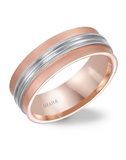 7.5mm rose gold concave wedding band with softsand finish and milgrain accent.