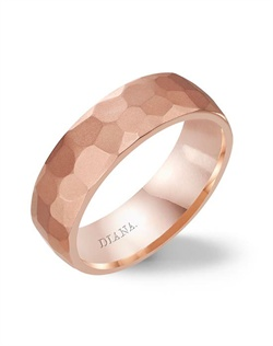7.0mm rose  gold  wedding band with hammer and soft sand finish.