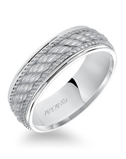 7.0mm wedding band consisting of a woven center motif and flat bright rims.  Available in Platinum, 18K White or Yellow or Rose Gold, 14K White or Yellow or Rose Gold or Palladium.  Owen