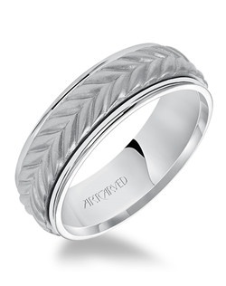 7.0mm men's wedding band consisting of a woven center motif and flat bright rims.  Available in Platinum, 18K White or Yellow or Rose Gold, 14K White or Yellow or Rose Gold or Palladium. Santino