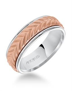 7.0mm wedding band consisting of a woven center motif and flat bright rims.
