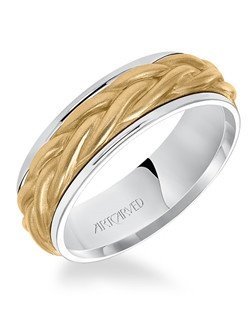 7.0mm men's wedding band consisting of a rope center motif and flat bright rims. Available in Platinum, 18K White or Yellow or Rose Gold, 14K White or Yellow or Rose Gold or Palladium.