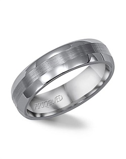 8mm wide, white tungsten carbide, comfort fit wedding band with a center stripe.
