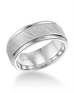 9mm, White Tungsten Carbide, Comfrot Fit Wedding Band