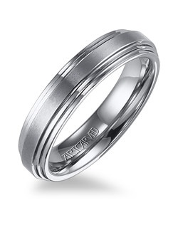 White Tungsten Carbide men's wedding band with flat double beveled edge and a horizontal brush center