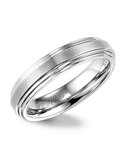 White Tungsten Carbide wedding band with flat double beveled edge and a horizontal brush center