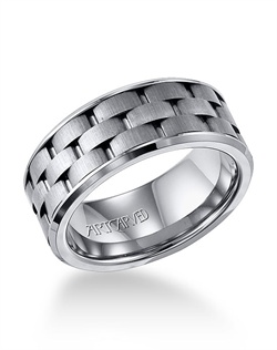 9mm wide men&#39;s wedding ring with brick pattern band
