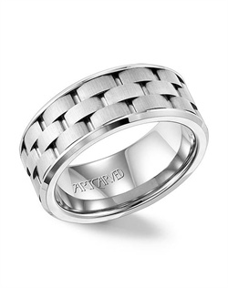 9mm wide men's wedding ring with brick pattern band