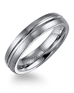 White Tungsten Carbide men's wedding band with broken edge and center groove.