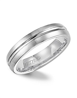 White Tungsten Carbide wedding band with broken edge and center groove