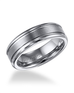 Tungsten Carbide wedding band with parallel bright grooves
