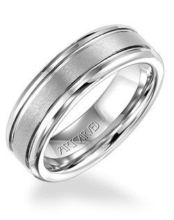 White Tungsten Carbide men's wedding band with parallel bright grooves