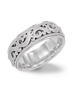 7.5mm Wide, Engraved Wedding Band with a Floral Motif and Milgrain Accent