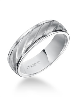 6.5mm  wedding band with mate finish and a  rope desings  in the center.