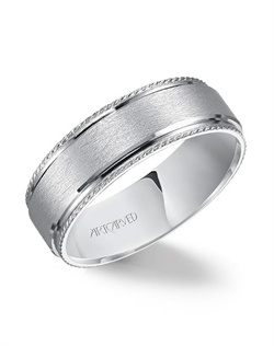 7mm wedding band with wire  finish and rope accent.