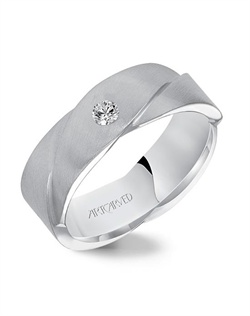 7.0mm diamond woven wedding band with satin finish.