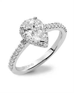 ArtCarved Americana Collection engagement ring with diamond halo and diamond shank.