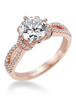 Diamond engagement ring featuring an exclusive ArtCarved setting in Rose Gold with pave color and split shank band.