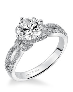 Diamond engagement ring featuring an exclusive ArtCarved setting, pave color and split shank band.