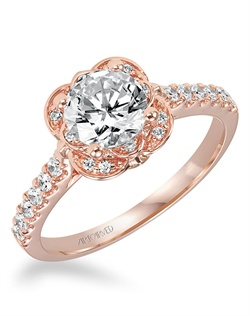 Diamond engagement ring featuring an exclusive ArtCarved  Rose Gold setting with prong set side diamonds and pave band.
