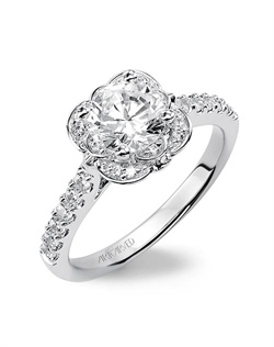 Diamond engagement ring featuring an exclusive ArtCarved setting with prong set side diamonds and pave band.