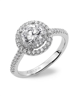 Diamond engagement ring with petite prong set double diamond halo and diamond band