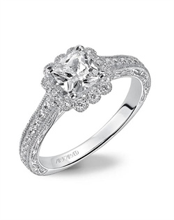 Diamond Halo engagement ring with milgrain detail on halo,  enhanced with diamond, engraved/milgrain shank.