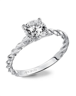 Solitaire engagement ring featuring our delicate rope design.