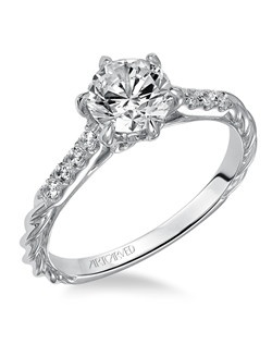 Diamond engagement ring with prong set diamonds on the shank, also featuring our rope design.