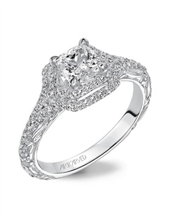 Double Halo engagement ring enhanced with a beautiful engraved design on the shank.