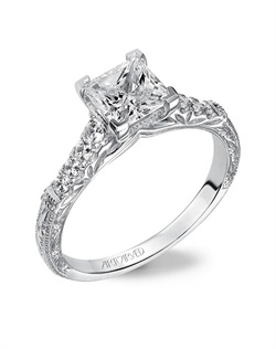 Diamond  engagement ring featuring  engraved and diamond shank with milgrain borders.