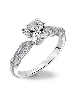 Diamond engagement ring with split diamond shank.