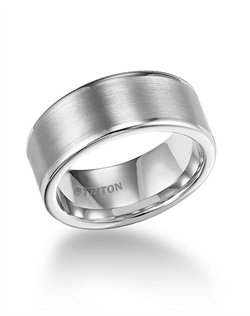 8mm White Tungsten Carbide Satin Finish Flat Center with Bright Polish Round Edges Comfort Fit Wedding Band
