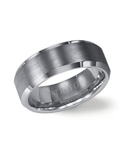 8mm Bevel Edge Tungsten Carbide Comfort Fit Band with Satin Finish Center and Bright Polished Edge
