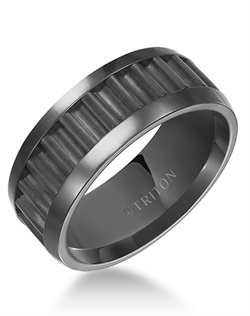 9mm Black Tungsten Carbide Center Corrugated Texture with Bright Polished Rims Comfort Fit Band.