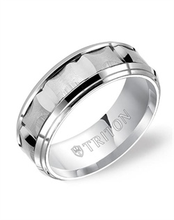 8mm Bevel Edge White Tungsten Carbide Comfrot Fit Band