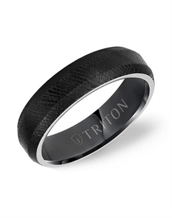 6mm Black Tungsten Soft Bevel Edge Comfort Fit Band with Florentine Finish