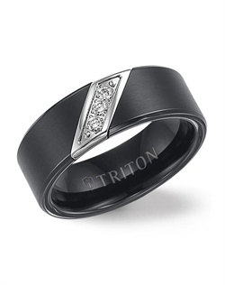 8mm Black Tungsten Carbide satin finish band with diagonal diamonds set in stainless steel