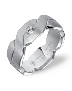 8mm White Tungsten Woven Engraved Comfort Fit Diamond Band