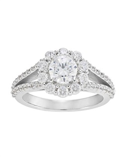 Split shank halo engagement ring with a Forevermark center diamond.