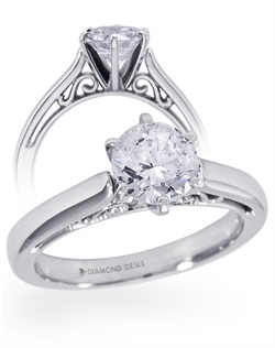 Simple and elegant looking from the top, this ring has hidden intricate scroll-work within the cathedral lift. Pictured here with a 1ct center and 6 prongs. This ring can accomodate any shape and size center stone. Center stone is not included in the quoted price. All rings can be order in any metal.