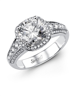 18K white gold ring comprised of 0.55ctw round white Diamonds.