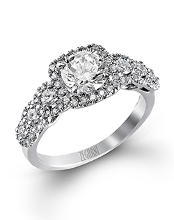 14K white gold ring comprised of 0.34ctw round white Diamonds and 0.31ctw round white side Diamonds.