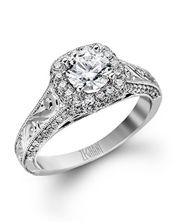14K white gold ring comprised of 0.62ctw round white Diamonds.